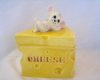 Lefton Mouse Cheese Vintage Covered Dish, Lidded Box, Japan