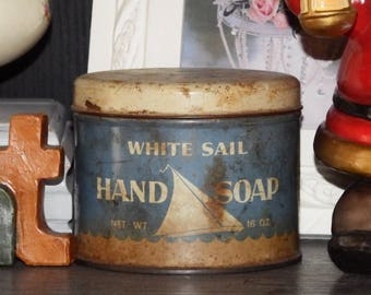 1950s Hand Soap Tin, Blue and White