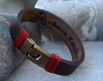 Valentine's Day Gift for Him- Personalized Leather Bracelet- Coordinates Bracelet- Mens Bracelet- Groomsman gift -