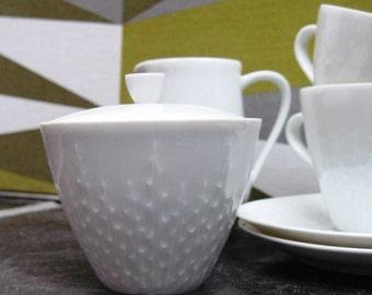 Vintage White Porcelain Hutschenreuther Coffee Set - Mid Century - Minimalist - Exzellenz