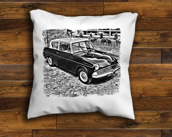 Ford Anglia Cushion Cover Unique Design 16 or 18 inch  Handmade with a zip