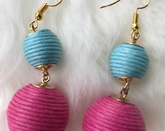 Bobble earrings in pink and blue