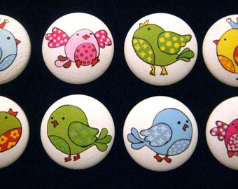 Set of 8 ~ SWEET LiTTLE BIRDS with CRoWNS ~  Hand Painted Wooden Knobs/Pulls  Great for Little Girl's Room, Nursery, Office