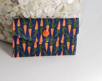 Gift Card Case Gift Card Holder Navy with Orange Carrots Ready to Ship