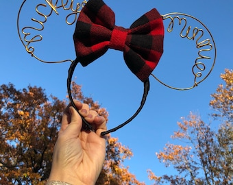 Minnie & Mickey Wire Mouse Ears - Plaid