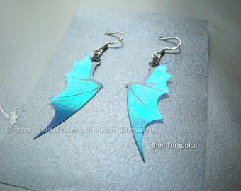 Micro Dragon wing earrings, iridescent with sterling silver ear wires, various colours. Latch back and clip on version available