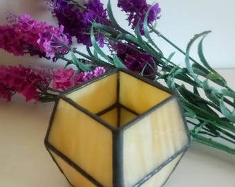 YELLOW-Candlestick, Tiffany, stained glass, glass work, Gothic, candle holder