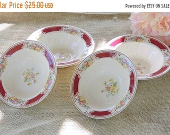 ON SALE Mismatched Homer Laughlin Dessert Bowls Set of 4 D42 N6, Wedding Bowls Tea Party Bowls Ca. 1940's Replacement China