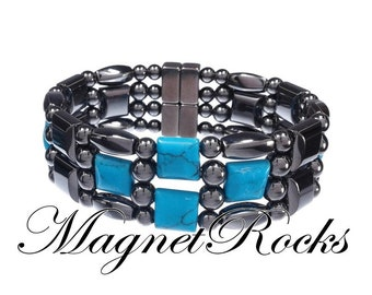 4x4 Collection Magnetic Hematite and Blue Turquoise Bracelet