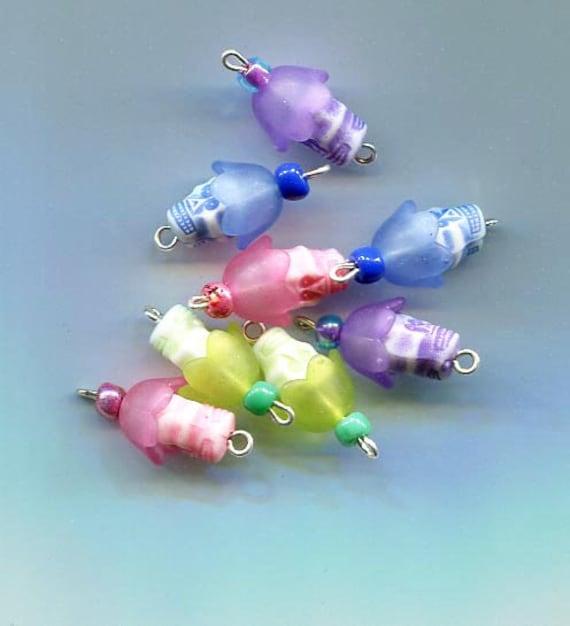skull flower charms skull pendants plastic skull bead drops 23mm purple blue jewelry supply