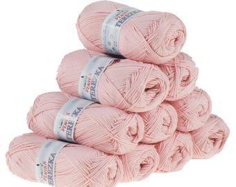 10 x 50g knitted yarn TEREZKA 100% cotton, #102 pink