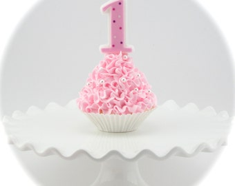 Fake Cupcake for Birthday Photo Prop. Your Choice Ruffle Frosting & Cupcake Liner. Standard Cupcake. 12 Legs Signature Design. Smash Cake