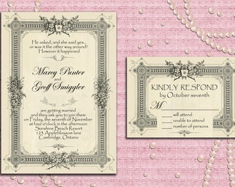 Art Deco Gatsby Style Wedding Invitation Suite with RSVP Card, 1920's, 20's Style, Vintage Frame - Printable, Digital file, DIY