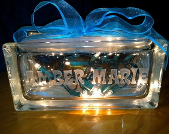 Personalized Night Light Hand Etched Name Special Lighting