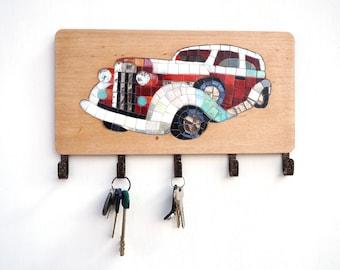 Mosaic car, key holder, leash holder, leash hanger, key hanger, key rack, Entryway organizer, Entryway Key Holder