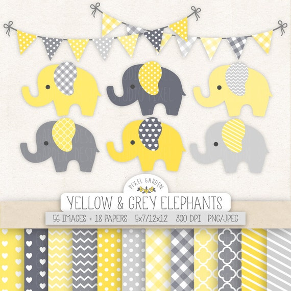 Cute Elephant Clipart. Baby Shower Clip Art, Digital Paper, Banners ...