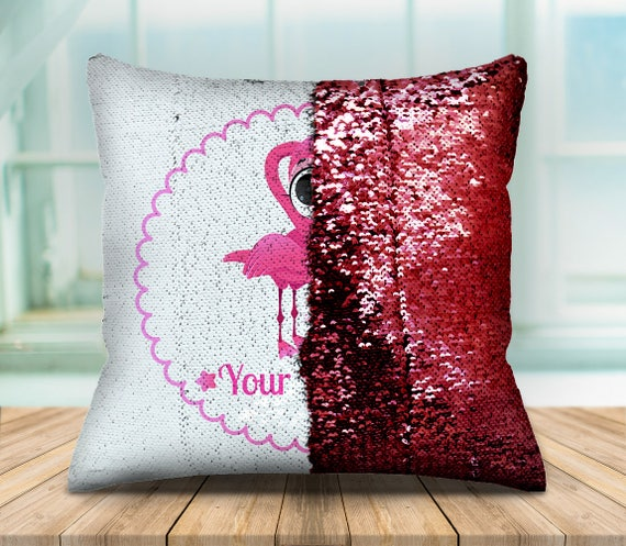 Personalized flamingo mermaid sequin pillow