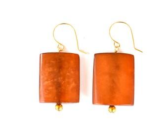 Minimalist Cognac Geometric Vintage Bead 14K Gold Filled Drop Earrings