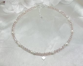 Girls Easter Necklace Pink Crystal Necklace Girls White Pearl Necklace Heart Necklace Adjustable Necklace Sterling Silver BuyAny+1Free