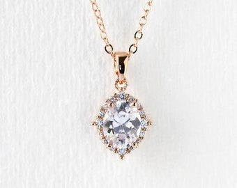 Bridal Necklace Wedding Accessory Rose Gold Necklace Crystal Necklace Bridal Jewelry Oval Necklace Rose Gold Halo Pendant Necklace N560-RG