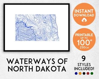 North Dakota map print, North Dakota print, USA map, North Dakota poster, North Dakota wall art, Map of North Dakota, North Dakota river map
