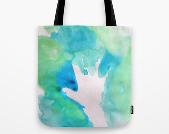 Child Echoes watercolor tote bag
