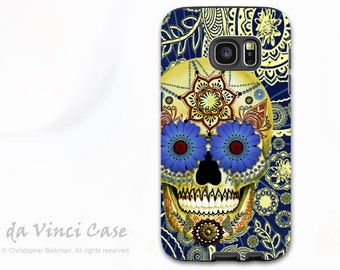 Blue Skull Case for Samsung Galaxy S7 - Premium Two Piece Galaxy S 7 Case with Day of The Dead Art - Sugar Skull Blues - Galaxy S7 Case