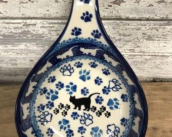 Polish Pottery Spoon/Ladle holder- Boo Boo Kitty