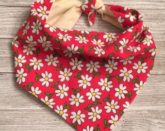 Spring Flowers and Polka Dots Tie On Dog Bandana Reversible