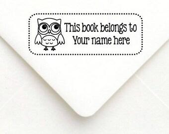 Custom Teacher Stamp, Teacher Rubber Stamp, Teacher Gift Stamp, Personalized Name Teacher Stamp, This book belongs to, Owl book stamp B15