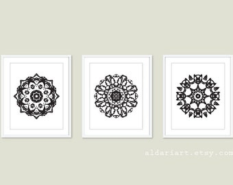 Black Mandala Medallion Wall Art  Print Set - Modern Home Decor - Black and White - Set of 3