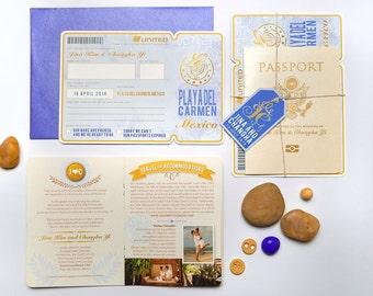 KIM Passport Wedding Invitation Boarding Pass RSVP, Custom Destination Wedding Invite Suite, Travel Inspired Light Blue Gold, Airline Ticket