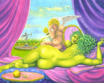 "Original fantasy painting: ""Medusa in Venus' Bedroom"" - Cupid & Goddess, female nude painting, original art by Nancy Farmer (unframed)"