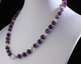 Amethyst and Vintage Crystal on Silver Chain Necklace