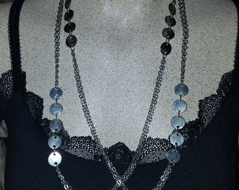 Vintage 1960's MOD Silver Circles Disks Layering Necklace. 52 Inches around