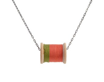 SALE: Moss and Salmon Thread Spool Necklace
