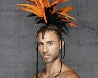Festival headpiece / Boho headpiece / Bohemian headpiece / Mohawk Headdress / Headpiece costume / Feather headpiece / Burning Man / Mohawk