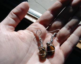 Tiger's Eye wire wrapped earings