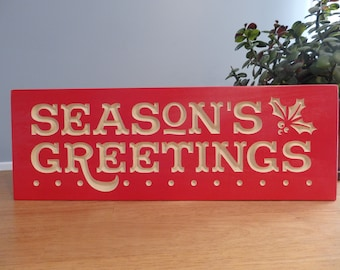 Seasons Greetings Holiday Wooden Carved Painted Sign
