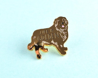 Golden Retriever Dog Pin - Gold Dog Pin