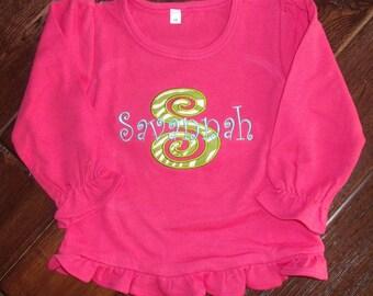 Personalized Girls Initial Shirt, Girl Monogram Shirt, Embroidered Initial Shirt, Appliquéd Letter Shirt