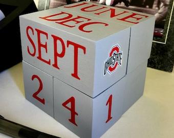OSU perpetual wooden calendar / Go BUCKS / unique gift for professor fan student teacher / Ohio State Buckeyes decal / OSU desk decor