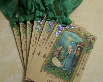 Christmas Tags Religious Christmas Taga Nativity Tags Mary and Jesus Tags Handmade Vintage Style Set of 6 or 9