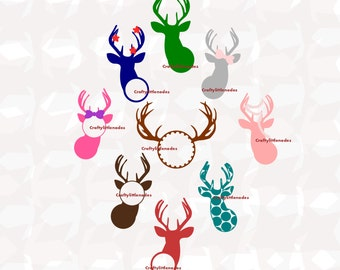 Deer Monograms Girly Antlers SVG STUDIO Ai EPS Scalable Vector Instant Download Commercial Use Cutting File Cricut Explore Silhouette cameo