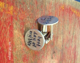 stamped groom cuff links-wedding date cuff links-personalized wedding gift