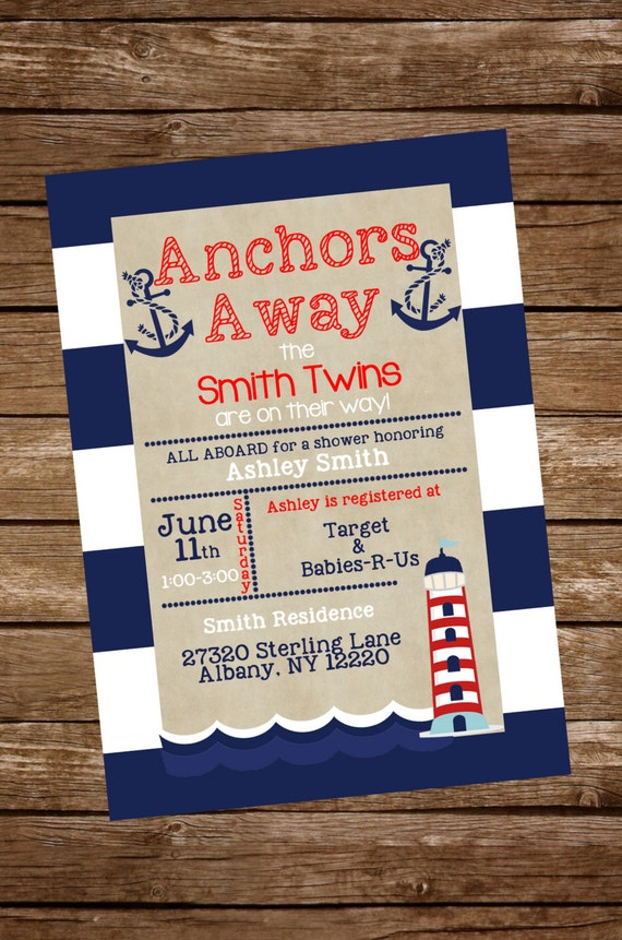 Twins Nautical Baby Shower Invite Twins Baby Shower