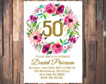 50th Birthday Invitation, Floral Women Birthday Invitation, Wreath invite, Watercolor flowers, 30th, 40th, 60th, 70th, 80th, 90th 1006