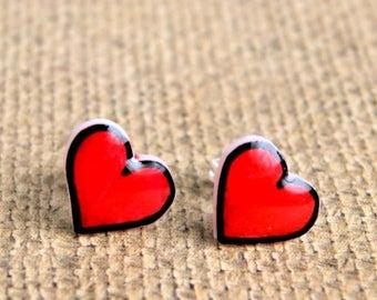 heart stud earrings, post earrings, resin earrings, valentines day, gift for her, valentine gift