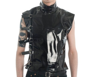 PVC Buckle Sleeveless Top goth gothic cyber fetish clubwear menwear fantasy sci-fi post-apocalyptic wasteland