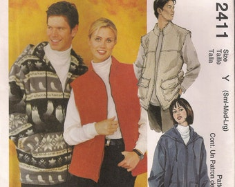 McCall's Sewing Pattern 2411 - Misses' and Men's Jacket and Vest (S-L)